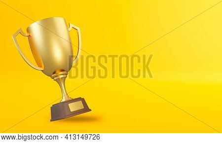 Trophy Cup On Yellow Background. Sport Tournament Award, Gold Winner Cup And Victory Concept. 3d Ren