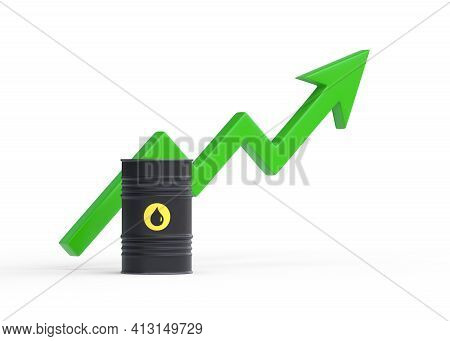 Single Black Oil Barrel With Green Rising Arrow Isolated On White Background. 3d Rendering Illustrat