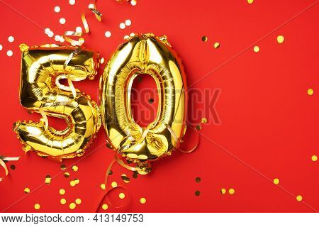 Gold Foil Balloon Number, Digit Fifty. Birthday Greeting Card With Inscription 50. Anniversary Celeb