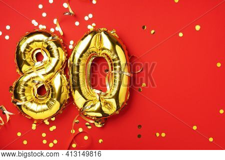 Gold Foil Balloon Number, Digit Eighty. Birthday Greeting Card With Inscription 80. Anniversary Cele