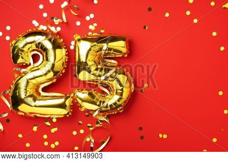 Gold Foil Balloon Number, Digit Twenty-five. Birthday Greeting Card With Inscription 25. Anniversary