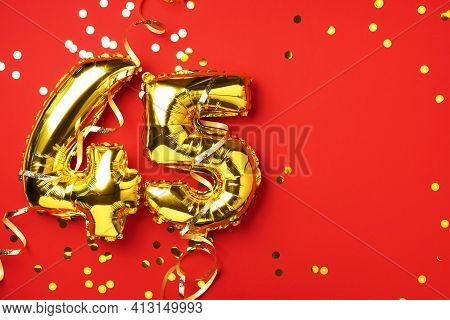 Gold Foil Balloon Number, Digit Forty-five. Birthday Greeting Card With Inscription 45. Anniversary