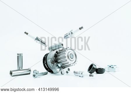 Car Inspection. Auto Motor Mechanic Spare Or Automotive Piece On White Background. Set Of New Metal