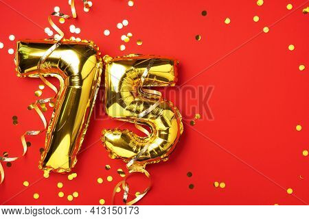 Gold Foil Balloon Number, Digit Seventy-five. Birthday Greeting Card With Inscription 75. Anniversar