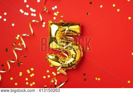 Gold Foil Balloon Number And Digit Five 5. Birthday Greeting Card. Anniversary Celebration Event. Ba