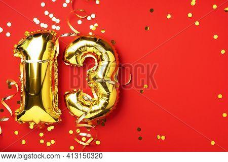 Gold Foil Balloon Number, Digit Thirteen. Birthday Greeting Card, Inscription 13. Anniversary Celebr