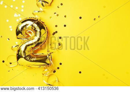 Gold Foil Balloon Number And Digit Two 2. Birthday Greeting Card. Anniversary Celebration Event. Ban
