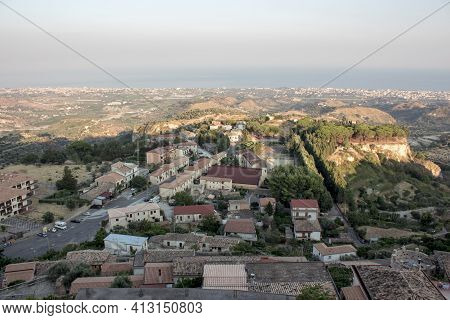 Landspace Of Gerace, A South Italian Village During The Sunset In The Summer, Hills Of Appennines Ar