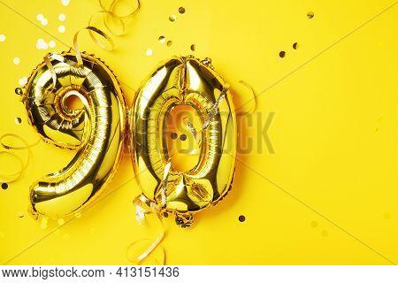 Gold Foil Balloon Number, Digit Ninety. Birthday Greeting Card, Inscription 90. Anniversary Celebrat