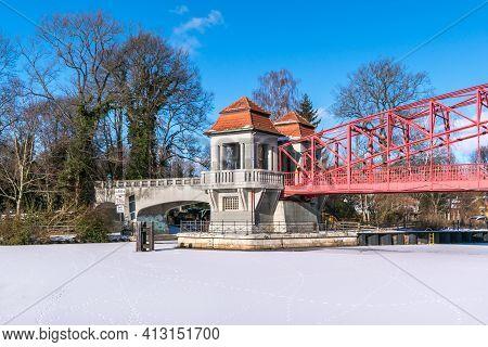 Berlin, Germany - February 12, 2021: Heritage-protected Steel Truss Haven Bridge ( Sechserbruecke) O