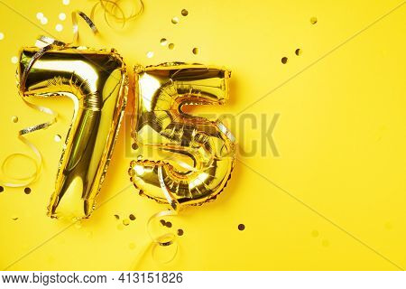 Gold Foil Balloon Number, Digit Seventy-five. Birthday Greeting Card, Inscription 75. Anniversary Ce