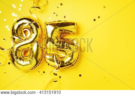 Gold Foil Balloon Number, Digit Eighty-five. Birthday Greeting Card, Inscription 85. Anniversary Cel