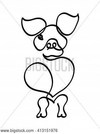 One Line Drawing Of Cute Pig. One Continuous Line Drawing Of Piglet On White.