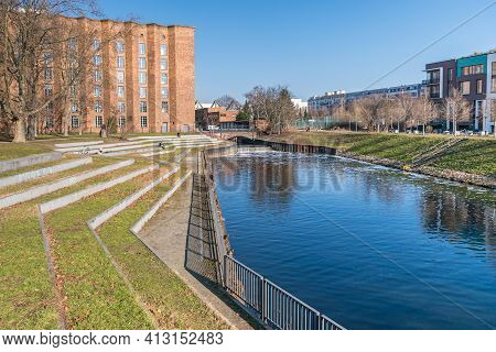Berlin, Germany - March 1, 2021: Seller Park With Bank Stairs, The Forebay Of The Nordhafen (where T
