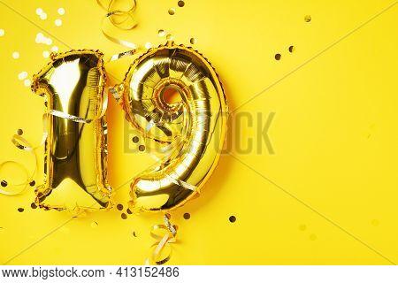 Gold Foil Balloon Number, Digit Nineteen. Birthday Greeting Card, Inscription 19. Anniversary Celebr