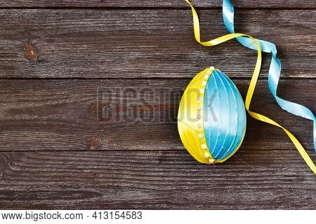Creative Easter, Diy Craft Hobby. Step-by-step Instructions. Making Crafts From Easter Egg  Satin Ri