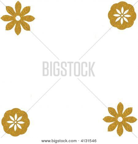 Gold Floral Corners Background