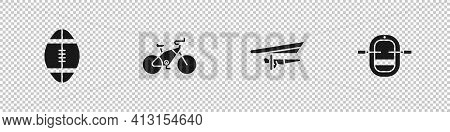 Set Rugby Ball, Bicycle, Hang Glider And Rafting Boat Icon. Vector