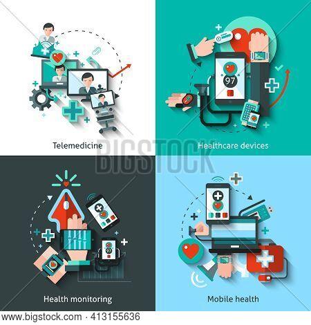 Digital Medicine Design Concept Set With Telemedicine Healthcare Devices Mobile Health Monitoring Fl