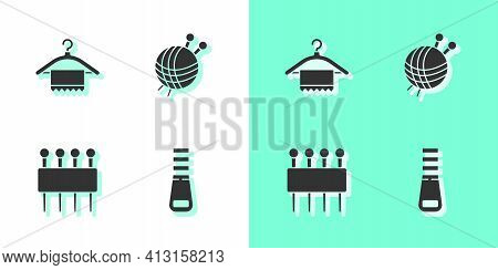 Set Zipper, Hanger Wardrobe, Needle For Sewing And Yarn Ball With Knitting Needles Icon. Vector