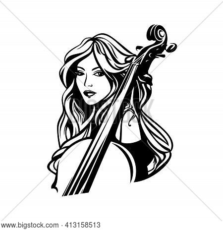 Beautiful Young Woman With Long Hair And Cello Instrument - Classical Music Performer Black And Whit