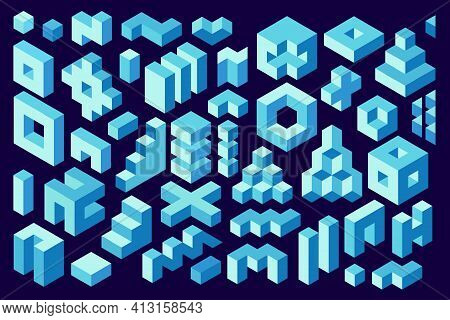 3d Rendering. Isometric Shapes, Design Elements. Set Of Isometric Simple Constructions. Decorative V