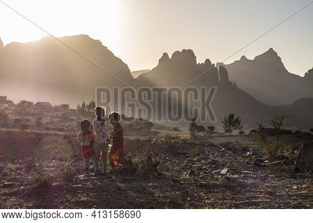 Axum, Ethiopia - Feb 11, 2020: Ethiopian Children Seen On The Road From Axum To Gheralta, Tigray In