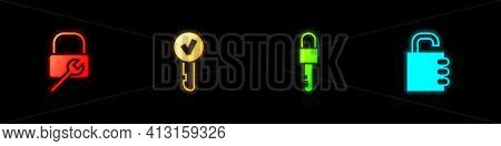 Set Lock Repair, Key, Locked Key And Safe Combination Lock Icon. Vector