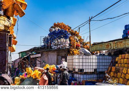 Addis Ababa, Ethiopia - Feb 15, 2020: Addis Mercato In Addis Abeba, Ethiopia, The Largest Market In