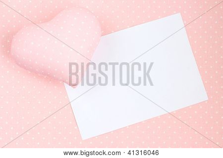 Heart On textile Background