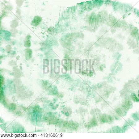 Tie Dye Circular. Artistic Watercolor Patterns. Hippie Circle Painting. Green Tye Die Swatch. Swirl