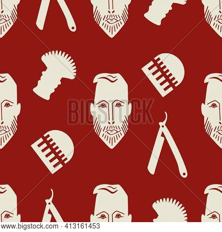 Male Face And Barber Tools Seamless Vector Pattern Background. Ochre Red White Geometric Backdrop Wi