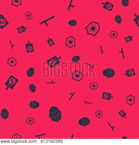 Set Special Forces Soldier, Police Rubber Baton, Protest And Badge On Seamless Pattern. Vector