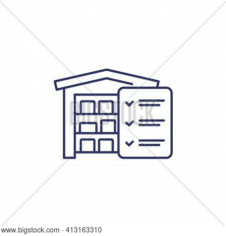 Inventory Or Warehouse And Logistics Line Icon