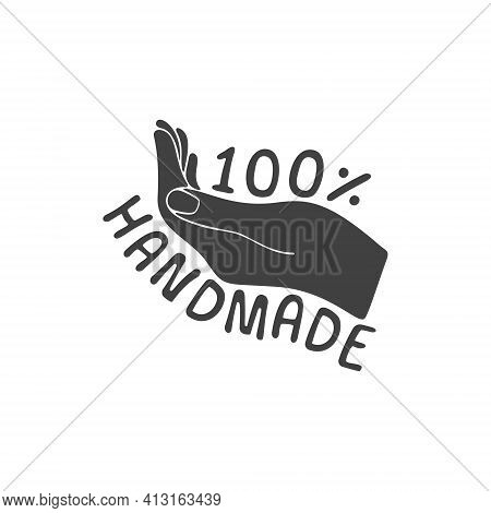 Handmade 100 Percent Vector Icon. 100 Hand Made Sign