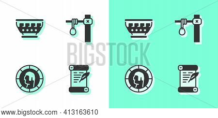 Set Decree, Parchment, Scroll, Greek Ancient Bowl, Ancient Coin And Gallows Icon. Vector