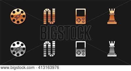Set Twister Game, Board, Tetris And Chess Icon. Vector