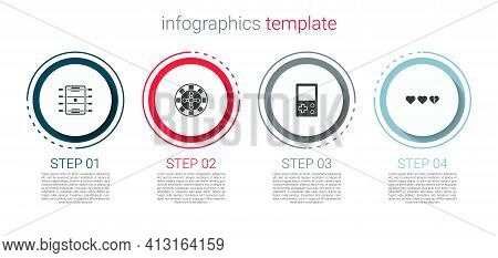 Set Hockey Table, Casino Roulette Wheel, Tetris And Hearts For Game. Business Infographic Template.