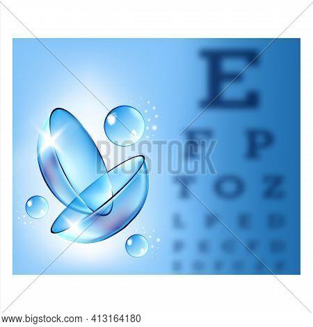 Contact Lenses In Special Liquid Banner Vector
