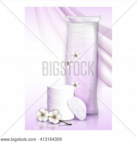 Cotton Pads Breathable Layer Promo Poster Vector
