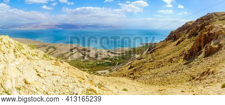 Panoramic View Of The Northern Part Of The Dead Sea And Einot Tzukim (ein Feshkha) Nature Reserve, S