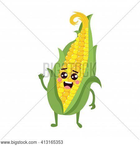 Isolated Corn Cob Cartoon Kawaii - Vector Illustration