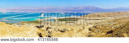 Panoramic View Of Salt Evaporation Pools In The Southern Part Of The Dead Sea. Southern Israel