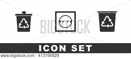 Set Recycle Bin With Recycle, Electrical Outlet And Icon. Vector