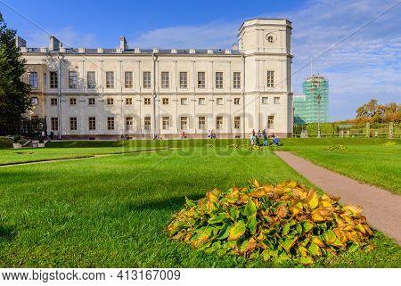 Gatchina, Saint Petersburg, Russia - October 3, 2020: Sightseeing Of Saint Petersburg. Gatchina Pala