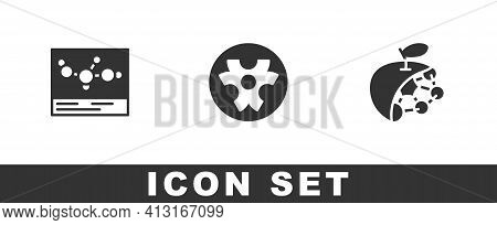 Set Chemical Formula, Biohazard Symbol And Biological Structure Icon. Vector