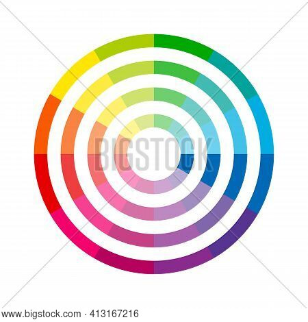 Color Wheel Icon. Pigment Spectrum Circle Isolated On White Background. Vector Illustration.
