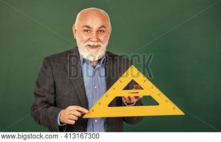 Become Lifelong Learners. Man Bearded Tutor Chalkboard Background. Mature Lecturer Share Knowledge.