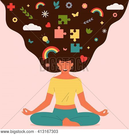 Happy woman meditating in yoga lotus position. Smiling female enjoying harmony. Practice yoga and meditation. The concept of mental health. Colorful modern vector illustration on pink background