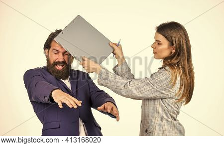 Humiliation. Divorce Lawyer Agency. Manager Hit Boss With Folder. Harassment At Work. Business Peopl